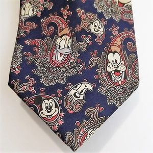 Disney Tie Works Mickey Donald Duck Paisley Tie